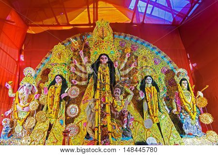 KOLKATA INDIA - OCTOBER 21 2015 : Beautiful interior of decorated Durga Puja pandal at Kolkata West Bengal India. Durga Puja is biggest religious festival of Hinduism.