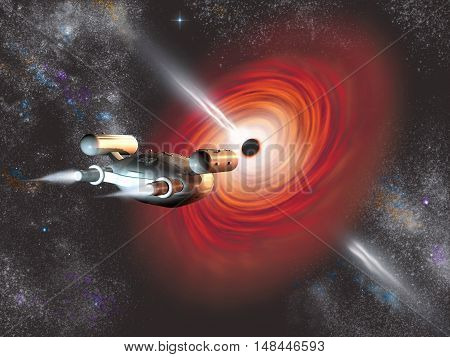 3d illustration of a spaceship going into a black hole
