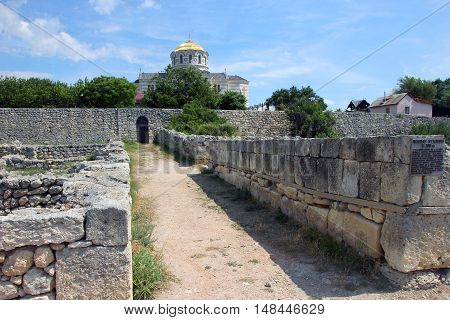 stone ruins on street of ancient Greek city of Chersonesos in Crimea