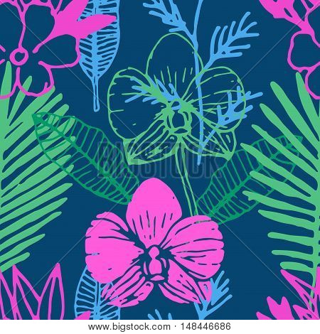 Tropical seamless pattern with sketch frangipani, palm leaves, orchid flower. Floral hand drawn colorful background. Vector illustration.