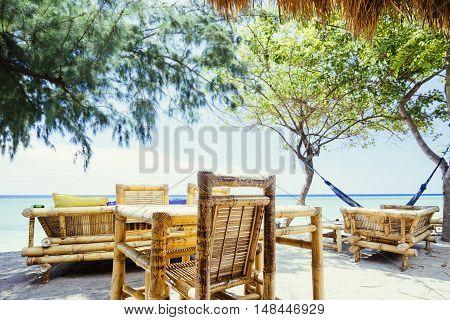 Bamboo Cafe On A Tropical Sand Beach