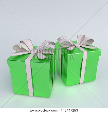 glossy green christmas gifts isolated on white - 3D render.