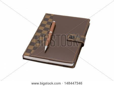 Closed office notebook isolated on the white background