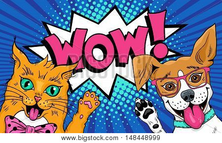 Wow Pop Art Pets. Funny Surprised Cat And Dog In Glasses With Open Mouths Rising  Paws Up. Vector Il