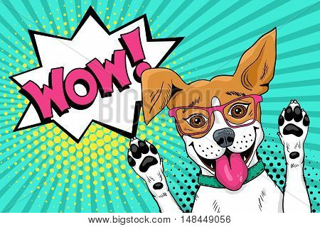 Wow Pop Art Dog. Funny Surprised Dog In Glasses With Open Mouth Rising His Paws Up. Vector Illustrat