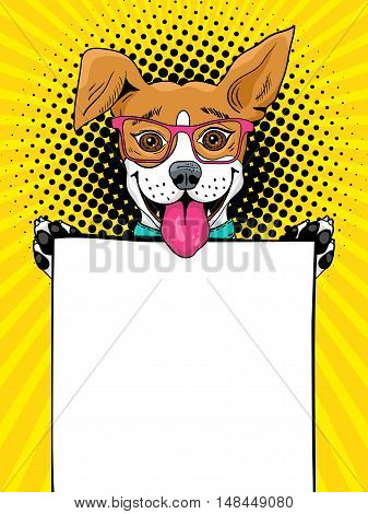 Wow Pop Art Dog. Funny Surprised Dog In Glasses With Open Mouth Holding An Empty Board In His Paws.
