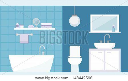 Modern bathroom interior with bathtub toilet and washbasin interior design concept