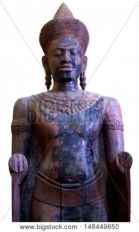 PHNOM PENH, CAMBODIA - JANUARY 10, 2013: Ancient statue of the Khmer Empire period in Phnom Penh National Museum