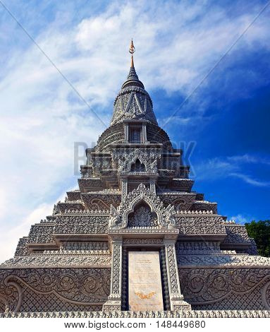 Stupa of His Majesty Ang Duong at the Silver Pagoda in Phnom Penh, Cambodia
