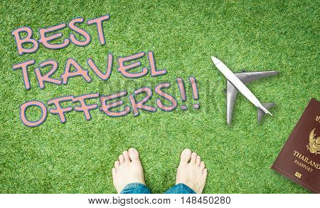 Best Travel offers banner with green grass background