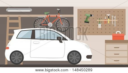 Home garage with car bike and tools hanging on the wall