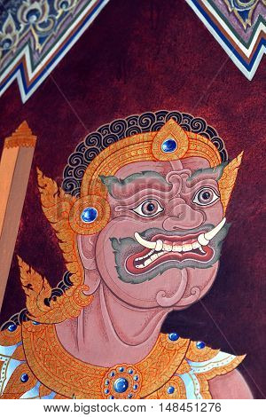Ancient Painted Fresco On A Temple Wall At Wat Phra Kaew In Bangkok, Thailand