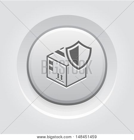 Cargo Protection Icon. Grey Button Design. Security concept with a cardbox and a shield. Isolated Illustration. App Symbol or UI element.