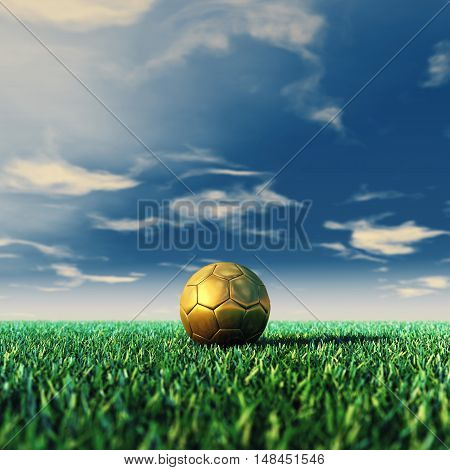 Soccer field and golden ball daylight , Football , 3d illustration