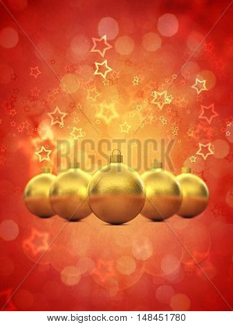 Golden christmas baubles on red background copyspace , 3d illustration