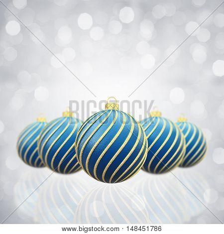 Blue and gold christmas decoration baubles on white glittery background , 3d illustration