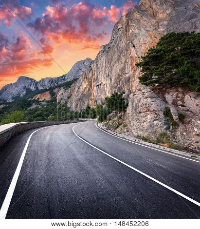 Asphalt Road. Colorful Landscape With Beautiful Winding Mountain Road