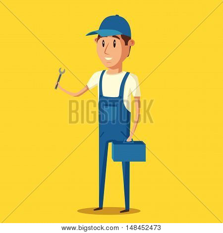 Car repair. Car service. Vector cartoon illustration. Mechanic repairs car in the garage. Auto repair shop. Funny mechanic. Professional worker.