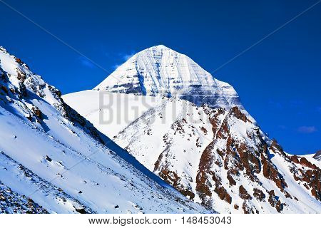 North face of Mount Kailash (elevation 6638 m), which are part of the Transhimalaya in Tibet. It is considered a sacred place in four religions: Bon, Buddhism, Hinduism and Jainism.