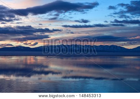 Lake Manasarovar In Western Tibet, China