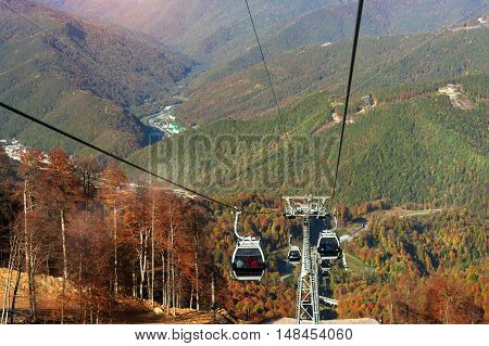 Mountain zipline through autumn forest on backdrop of Caucasus mountains funicular railway to observation deck tops 2320 m. Krasnaya Polyana - Alpine ski resort constructed from 2003 to 2011 for Sochi Olympic games. Rosa Khutor Sochi Russia poster