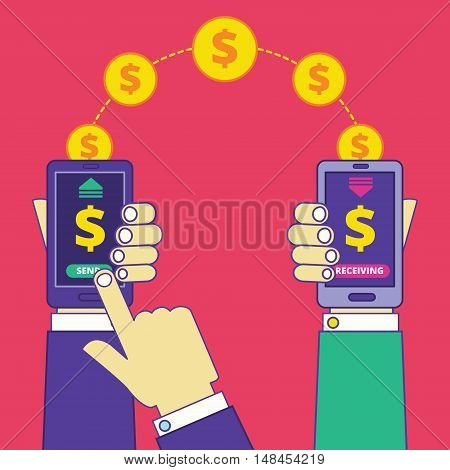 Money transfer operation via cell phone. Sending and receiving money between smartphones. Online money transaction service paying or buying. Vector illustration in trendy cartoon style. poster