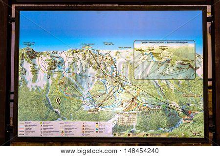 SOCHI RUSSIA - OCTOBER 31 2015: Interactive map - information banner Rosa Khutor Alpine ski resort. Constructed from 2003 to 2011. Krasnaya Polyana Sochi Krasnodarskiy kray Russia