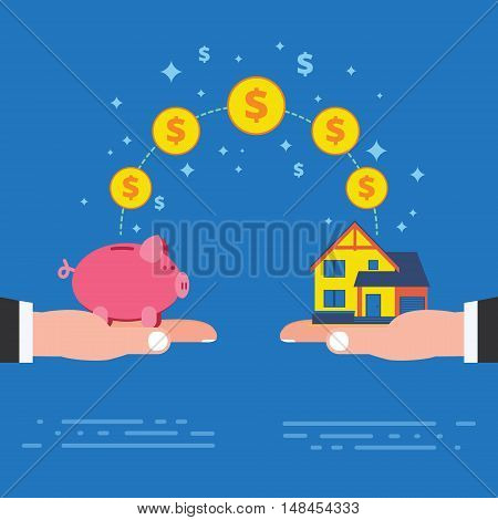 Real estate investment or housing construction payment. Buying new house metaphor with piggy bank on hand. Business concept vector illustration