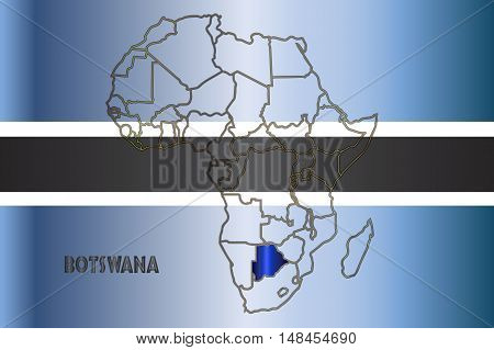 Botswana outline inset into a map of Africa over a flag background