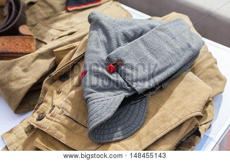 Vintage budenovka (wool cavalry helmet) used as uniform in old soviet Red army