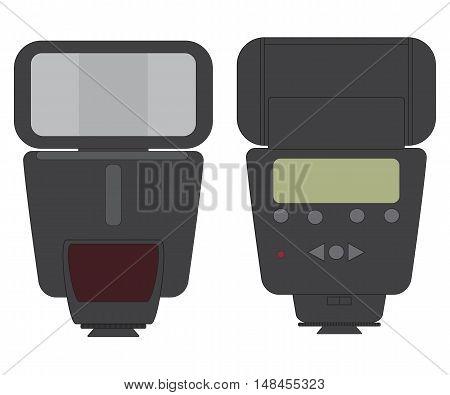 On-camera External Photo Flash Line Vector Image