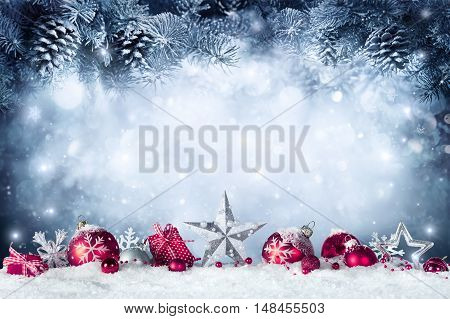 Christmas Card - Baubles And Fir Branch On Snow