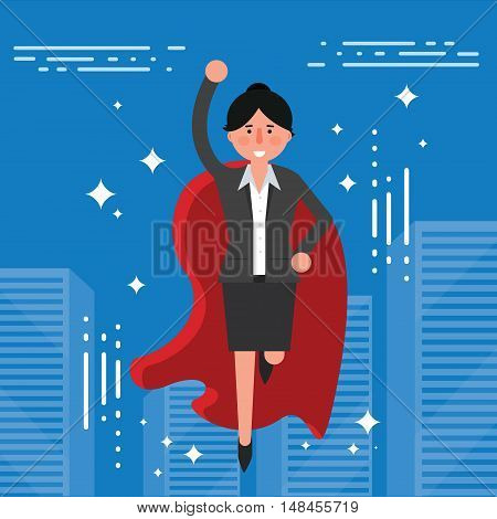 Successful businesswoman or broker in suit and red cape flying on city skyline background. Vector illustration of business lady superhero as concept of career growth or leadership