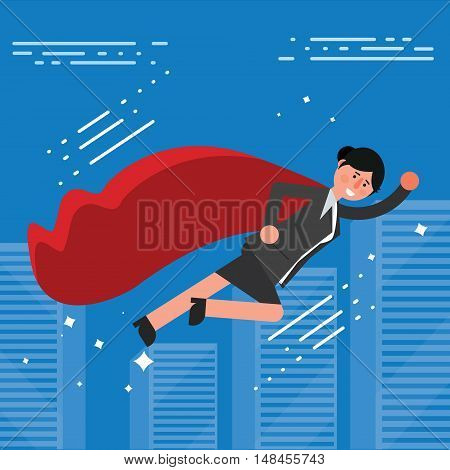 Successful businesswoman or broker in suit and red cape flying on city skyline background. Vector illustration of business lady superhero as concept of success or leadership symbol