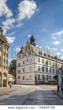 PADERBORN, GERMANY - SEPTEMBER 6, 2016: Gymnasium Theodorianum building in the historical center of Paderborn, Germany