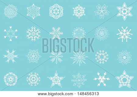 Set of 24 white snowflakes on blue background. Christmas and new year clip art. Can be used for scrapbooking, greeting cards, digital scrapbooks, web graphics, posters, banners and other designs.