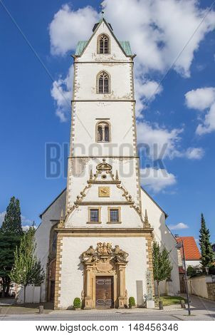 PADERBORN, GERMANY - SEPTEMBER 6, 2016: Busdorf Church in the historical center of Paderborn, Germany