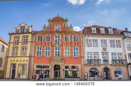 PADERBORN, GERMANY - SEPTEMBER 6, 2016: Shops at the central market square of Paderborn, Germany