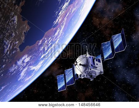 Satellite Deploys Solar Panels And Planet Earth Reflected In Them. 3D Illustration.