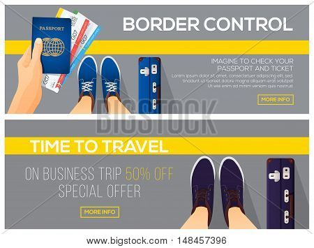 Border control and time to travel banners. view from above. Passport with tickets. vector illustration.