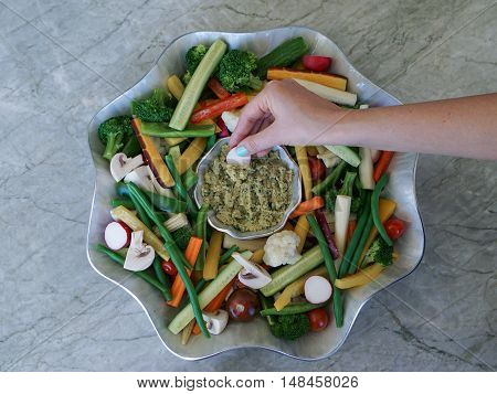 Vegetable Crudites and Dip/ vegetable platter on wood background, snacking, healthy eating, selective focus