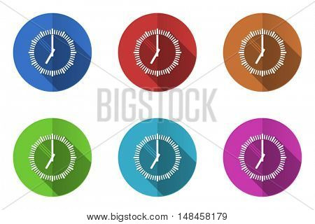 Flat design clock vector icon. Eps 10 web colorful buttons.
