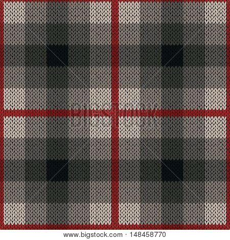 Seamless Pattern As A Knitted Fabric In Red And Grey Colors