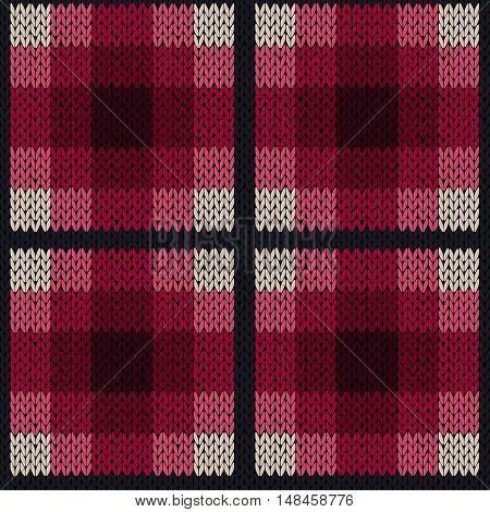 Seamless Pattern As A Knitted Fabric In Pink And Grey Colors