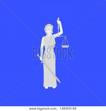 Law conceptual illustration with woman. Themis vector illustration