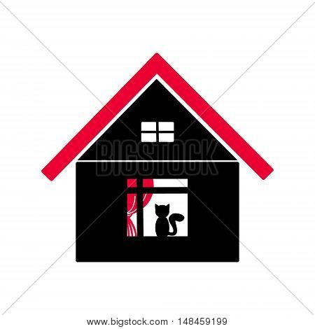 The house with the red roof and the window. Black silhouette of the cottage on a white background. The cat sits in the window of the home. Vector abstract illustration