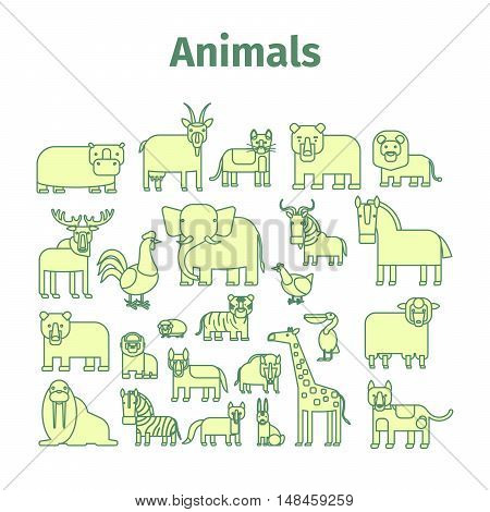 Animals line art vector Icons with strokes