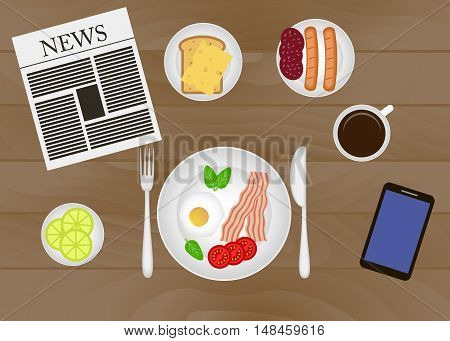 Vector breakfast time illustration with fresh food and drinks in flat style.  Mealtime