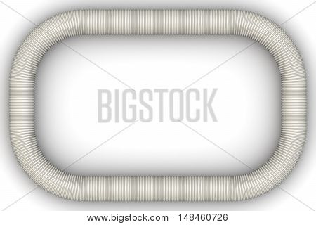 Frame made of corrugated tube. Corrugated pipe is bent in the shape of a rectangular frame on a white surface. Isolated. 3D Illustration