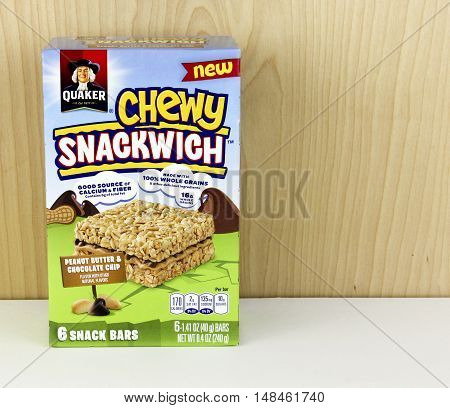 Spencer Wisconsin - September 22 2016 Box of Quaker Chewy Snackwich Bars Quaker Oats company was founded in 1901